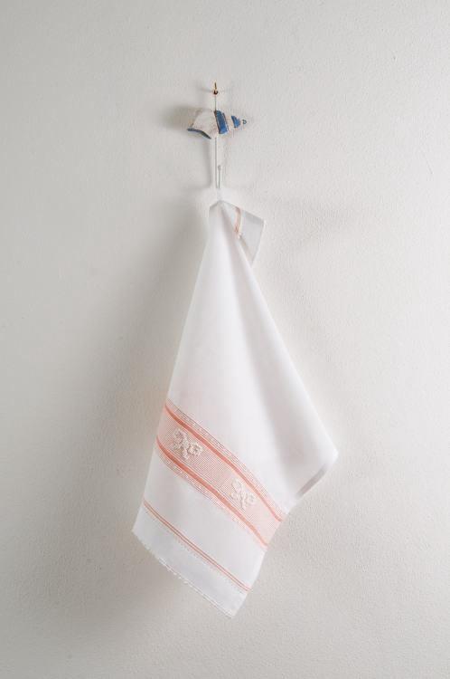 Art-17 canovaccio misto lino fiocchi bianchi