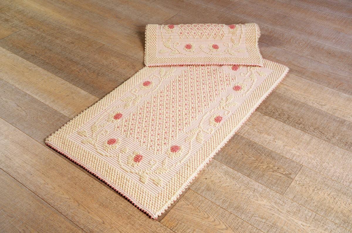 Art-3 scendiletto lana roselline rosa antico