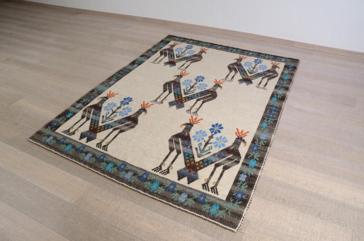 Art-4 tappeto lana tessuto pieno uccello reale