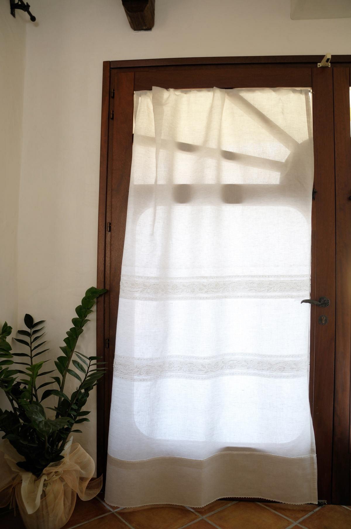 Art 1 tenda in lino puro pistoccu annasegreto - Tende in lino per cucina ...