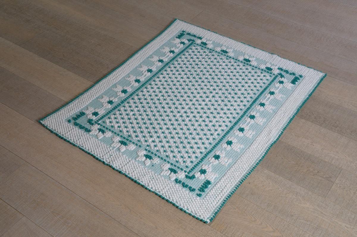Art-60 tappeto cotone tessuto a rilievo fiocchetti