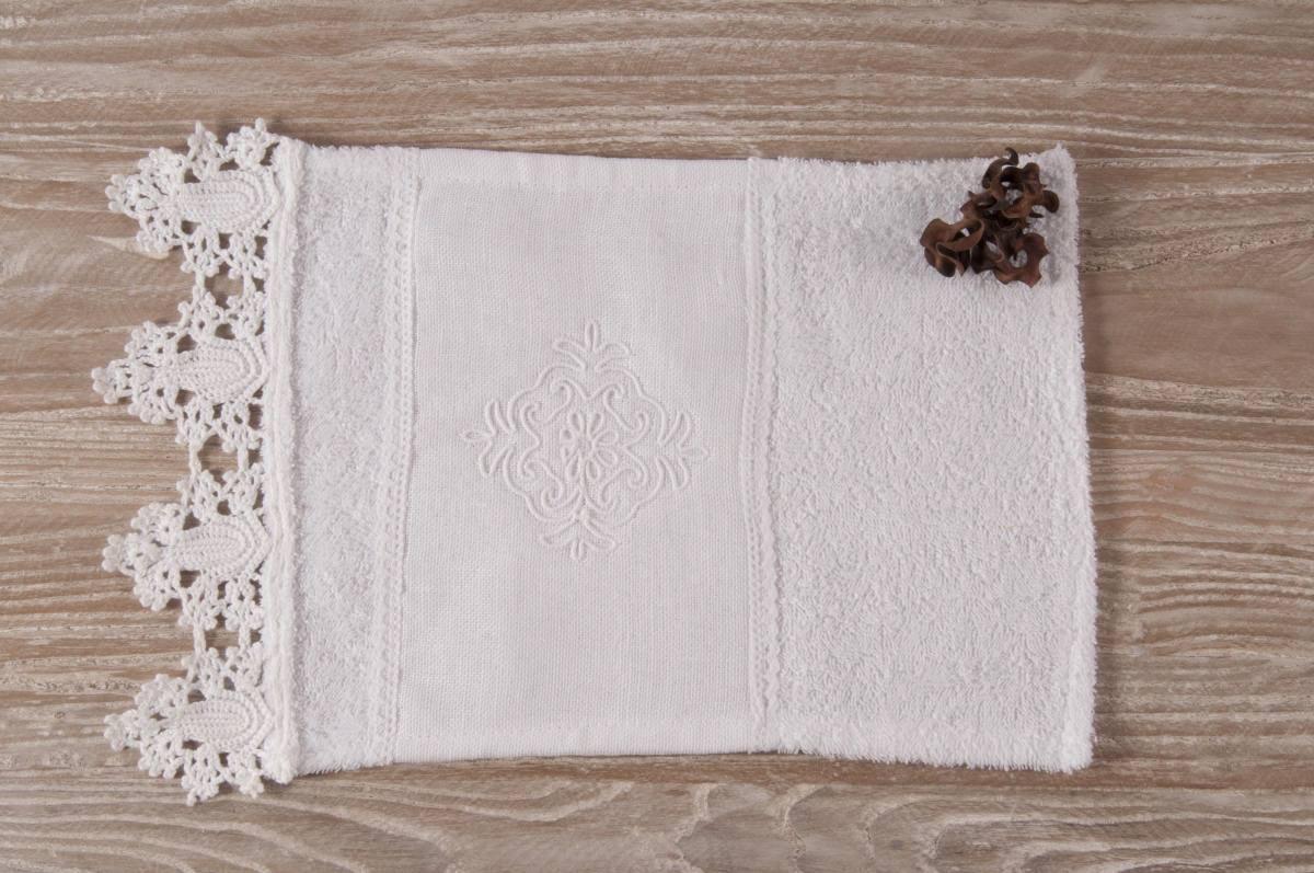 Art-11 lavetta in spugna bianco e pizzo fatto all'uncinetto con fascia di lino e disegno pistoccu